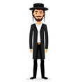 jewish man jew character isolated on white vector image vector image