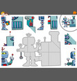 jigsaw puzzle game with robot characters vector image
