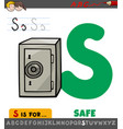 letter s worksheet with cartoon safe vector image vector image