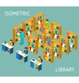 Library in isometric flat style People among vector image vector image