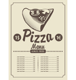 Menu with pizza vector image vector image