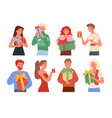 people holding presents vector image vector image