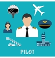 Pilot profession and aircraft icons vector image vector image
