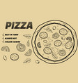 pizza food menu for restaurant and cafe design in vector image vector image