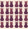 purple and pink cute cat faces pattern vector image