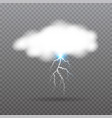 realistic cloud with lightning weather icon vector image