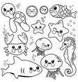 sea animals swimming in vector image
