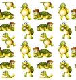 seamless pattern tile cartoon with turtle vector image