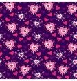 Seamless Violet cartoon pattern with cartoon heart vector image vector image