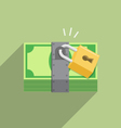 Security Safety Protection lock on money vector image vector image