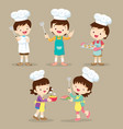 set of children cooking vector image vector image