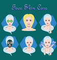 set of icons with facial skin treatment and vector image