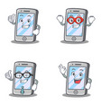 set of iphone character with pose hero business vector image vector image