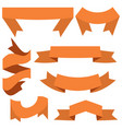 set of seven orange ribbons and banners vector image vector image