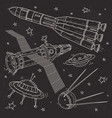 silhouette spaceship rocket satellite vector image