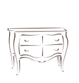 Sketched chest of drawers vector image vector image