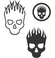 skull on fire vector image