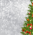 Snowflake Background with Christmas Tree vector image vector image