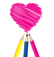 Three pencils drawing heart shape vector image vector image