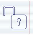 unlock sign navy line icon vector image vector image