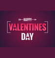 valentines day banner on dark red background vector image vector image