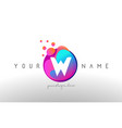 w dots letter logo with bubbles a letter design vector image vector image