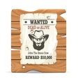 Wood sign board with wanted poster vector image