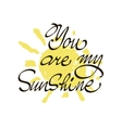 You are my sunshine Inspirational quote vector image
