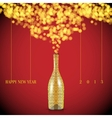 Christmas bottle and decorations background vector image