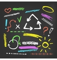 Colorful chalk elements collection on blackboard vector image