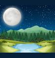 a river night scene vector image vector image