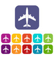 airplane icons set vector image vector image