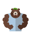 Angry bear in striped vest Russian bear defender vector image