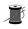 black and white spool icon vector image vector image