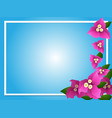 border template with pink bougainvillea vector image vector image
