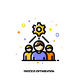 business team and gear as working process icon vector image vector image