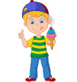 cartoon boy holding an ice cream vector image vector image