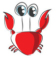 cartoon of red crab on white background vector image vector image
