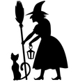 cat and witch vector image vector image