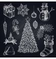Christmas Elements On Chalkboard Set vector image vector image