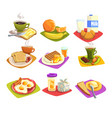 classic breakfast ideas set cartoon vector image vector image