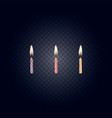 colored birthday candles isolated on a dark backgr vector image
