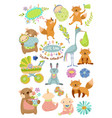 cute bacartoon collection with animals vector image vector image