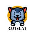 cute cat cartoon logo icon vector image vector image