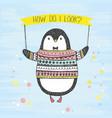 cute hand drawn penguin vector image