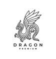 dragon monoline logo icon vector image