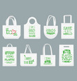 eco fabric bag say no to plastic bags polythene vector image