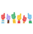 fan foam fingers supporting color flat hands vector image vector image