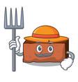farmer brick character cartoon style vector image vector image