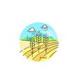 farming field flat in linear vector image
